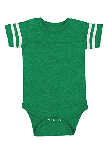 Infant Jersey (Rabbit Skins 100% Cotton Blank Infant Football Jersey Bodysuit [Size 6 Months] Vintage Green/White Short Sleeve Bodysuit)