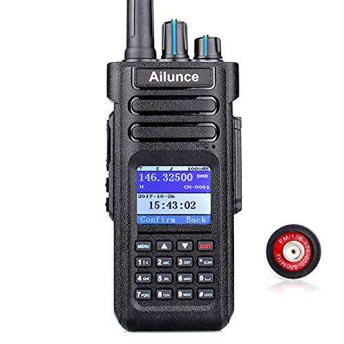 Ailunce HD1 Digital Walkie Talkies Waterproof IP67 GPS UHF VHF 3000 Channels 200000 Contacts 3200mAh Rechargeable Li-on Battery FM DMR Radio 1 Pack