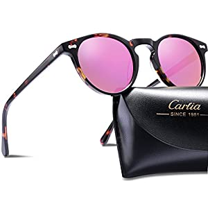 Vintage Round Sunglasses - Carfia Polarized Sunglasses for Women Men, 100% UV400 Protection (Tortoise frame with pink lens, Multicoloured)