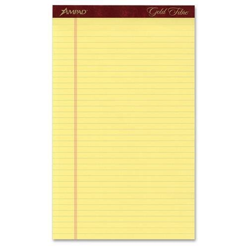 Ampad 20034 Gold Fibre Pads, 8 1/2 x 14, Canary, 50 Sheets, Dozen by TOPS