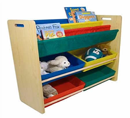 Wooden And Non Woven Toy Book Storage Unit