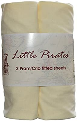 2x Moses Basket Fitted Sheets 100/% Cotton Cream