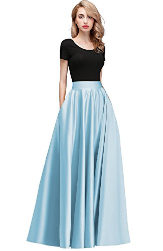 Honey Qiao Women's Satin Long Floor Length High Waist Prom Party Skirts (S, Blue)