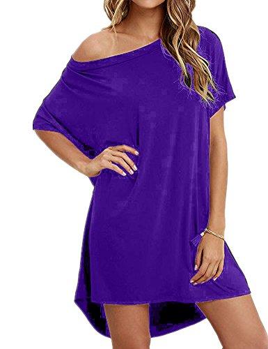 (Haola Women Loose T Shirts Home Short Shirt Mini Dresses Tops XXL Purple)