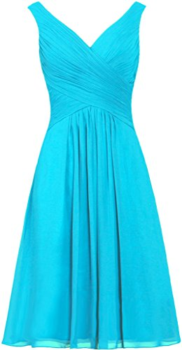 ANTS Women's Tanks Straps Bridesmaid Dresses Short Chiffon Prom Dress Size 20W US Turquoise