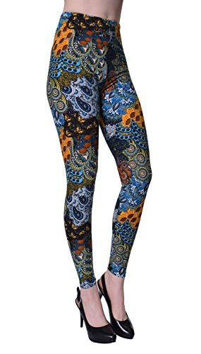 VIV Collection Regular Size Printed Brushed Leggings (Breezy Uprising)