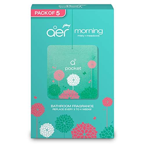 Godrej aer Pocket, Bathroom Air Fragrance – Morning Misty Meadows (Pack of 5)