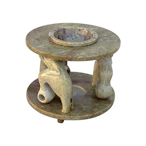 (Soapstone Oil Burner, Three Pillar Elephants - Nautical Decor)