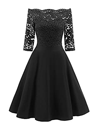 sankill Women's Vintage Dresses Lace Floral Boat Neck 3/4 Long Sleeve Swing Dress A-Line Cocktail Party Prom