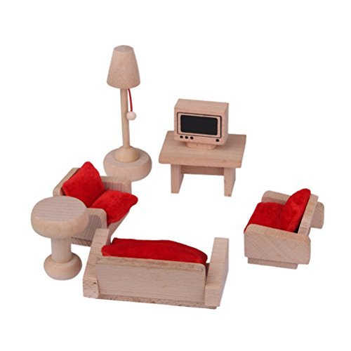 UEETEK Wooden Living Room Set Mininature Dollhouse Furniture Toy for Kids Children (Set Living Miniature Room)