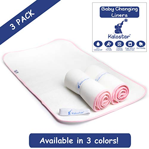 Waterproof Baby Changing Pad Liners Washable Dryer Safe Portable Extra Large 3 Pack Kalostar (Pink) (Changing Baby Terry Pad)