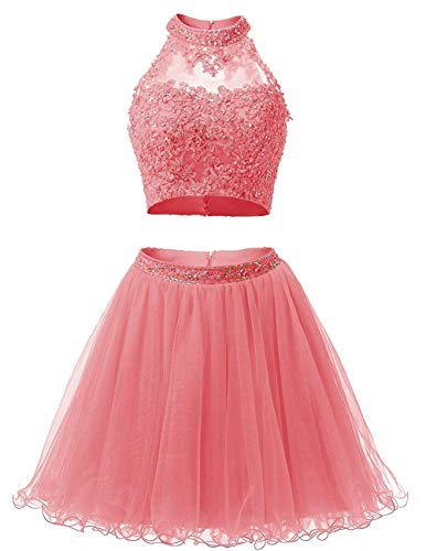 Two Pieces Beaded Halter Bodice Lace Top Tulle Evening Prom Dresses HM19 Coral Plus Size 18 ()