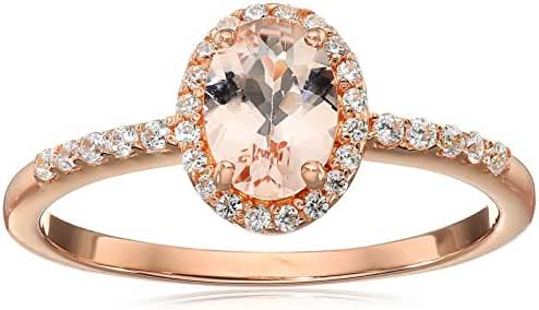 Rose Gold Plated Silver Morganite Oval Cubic Zirconia Accents Ring, Size 7