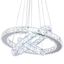 Interior Lighting Dixun LED Modern Crystal Chandeliers 3 rings LED Ceiling Lighting Fixture Adjustable Stainless Steel Pendant Light for… modern ceiling light fixtures