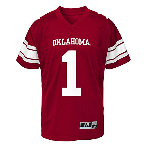 NCAA Oklahoma Sooners Youth Boys Gen 2 Football Jersey, Red, Youth Medium(10-12) (Sooners Oklahoma Jersey)