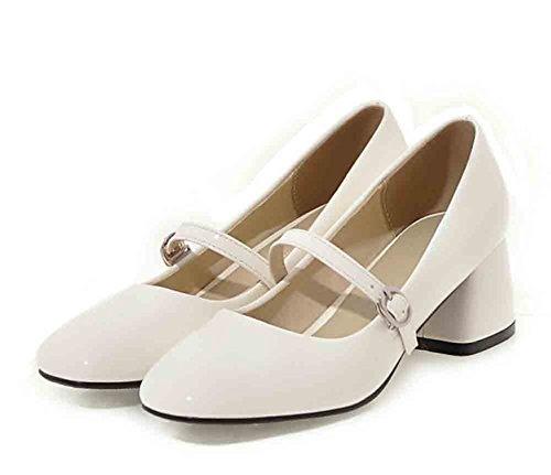Easemax Femmes Brevets Boucle Sangles Bout Carré Bas Haut Mi Chunky Talon Pompes Chaussures Blanc