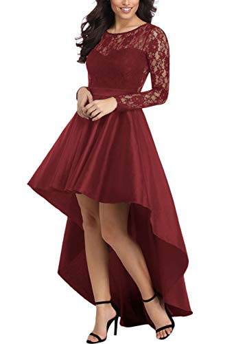 - Women Evening Dresses Long Sleeve Lace Bodice Formal Hi-Low Prom Party Dress Red M