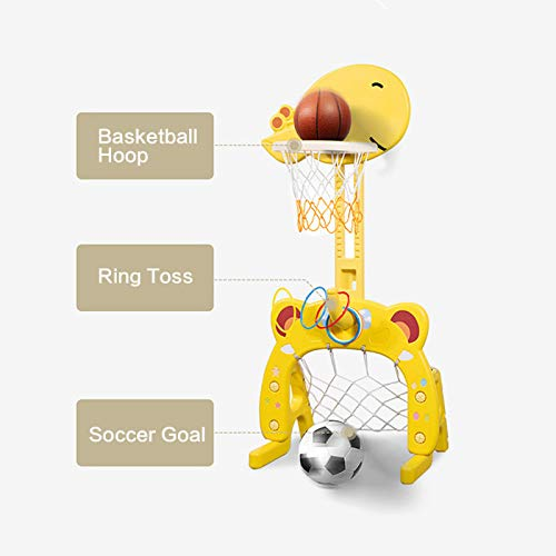 Beebeerun Basketball Hoop Set, 3 in 1 Sports Activity Center Adjustable Easy Score Basketball Hoop, Football / Soccer Goal, Ring Toss Cute Giraffe Best Gift for Baby / Infant / Toddler (Yellow)