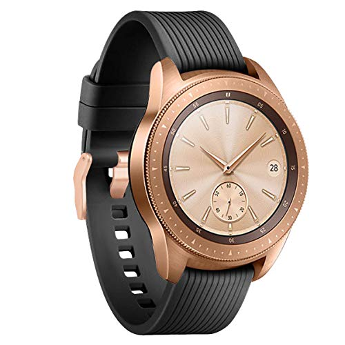 (YiJYi Compatible with Samsung Galaxy Watch 42mm Bands/Galaxy Watch Active Bands, 20mm Silicone Strap Sports Replacement Wristband for Galaxy Watch 42mm (Black with Rose Gold Buckle, Small(6