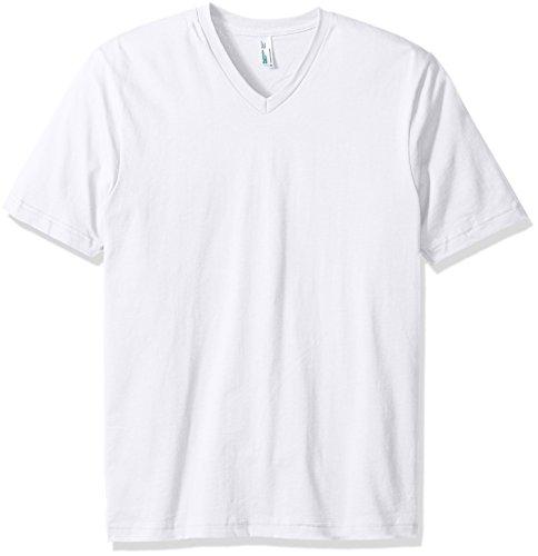 (American Apparel Men's Organic Fine Jersey Short Sleeve Classic V-Neck T-Shirt, White, X-Large)