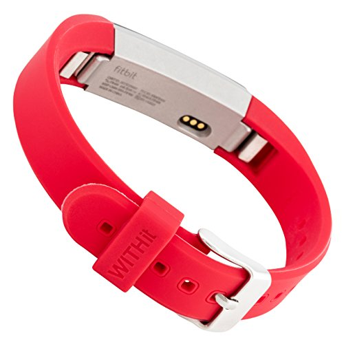 WITHit Silicone Replacement Band for use with Fitbit Alta & Alta HR, Replacement Wristband Compatible with Fitbit Alta & Alta HR - Red