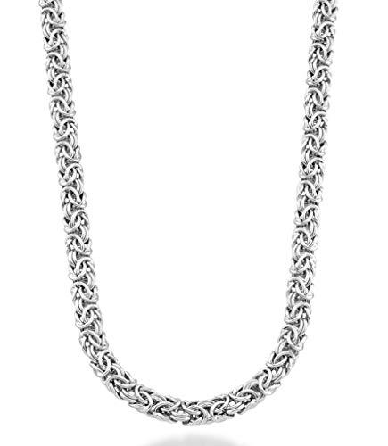 Etruscan Silver Bracelet - MiaBella 925 Sterling Silver Italian Byzantine Link Chain Necklace for Women, 18