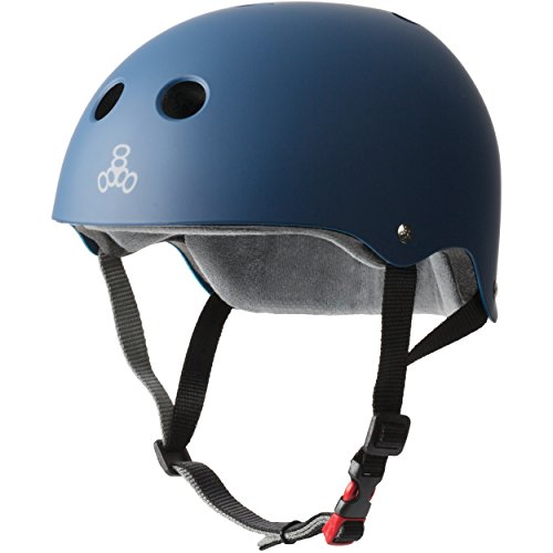 Triple 8 THE Certified Sweatsaver Helmet for Skateboarding, BMX, Roller Skating and Action Sports, Navy Rubber, L/XL