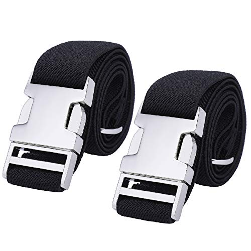 Boys Adjustable Stretch Belt for Kids - 2PCS Zinc Alloy Childrens with Easy Clasp Belt for Toddlers Boys Girls (2Pcs Black)