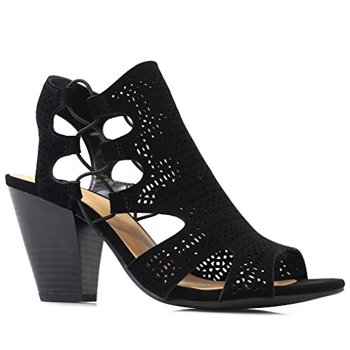 City Classified Open Toe Perforated Lace up Elastic Side Stacked Chunky Heel Sandal, MVE Shoes zuka Black NBPU Size 10
