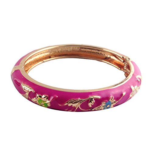 (UJOY Fashion Flower Enameled Bangles Cuff Hinge Cloisonne Jewelry Children Girls Bracelet Gifts 55D07 Pink)