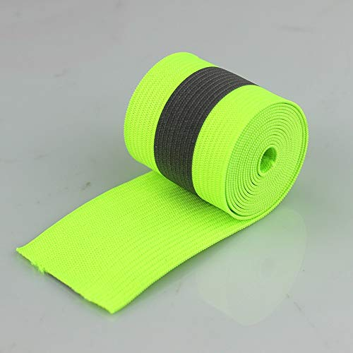 DalaB Fluorescent Green Safety Silver Reflective Elastic Tape Band Cord Belt Fabric Wide 40mmx15mm - (Size: 50meter) by DalaB (Image #2)
