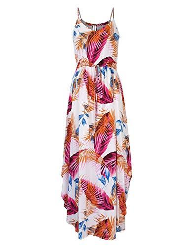 GloryStar Women Strapless Maxi Boho Vintage Summer Beach Floral Print Hawaiian Party Long Dress (XL, Orange-Red Printed)