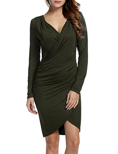 Dress 3 Green Pleated High army Sleeve Sexy Dots B Waist Casual Party Women Lady Print Pinsparkle 4 wTSOtq