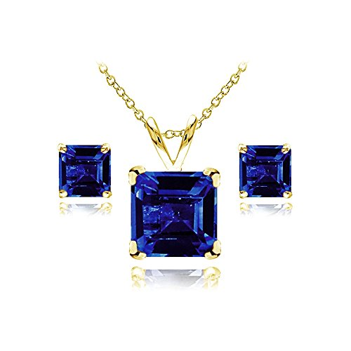 GemStar USA Yellow Gold Flashed Sterling Silver Created Blue Sapphire Square Solitaire Necklace and Stud Earrings Set