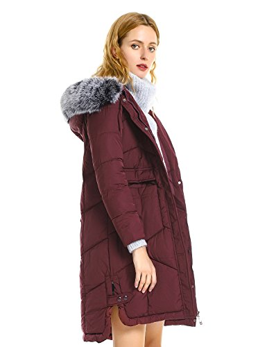 ZAN.STYLE Women's Long Warm Winter Coat, Windproof Faux Fur Hood Jacket (Burgundy, 2XL) (Jacket Womens Coat Style)