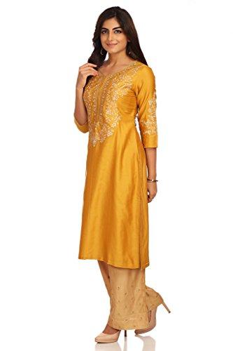 BIBA Women's Straight Cotton Silk Suit Set 42 Mustard by Biba (Image #2)