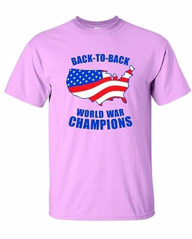 Men's American FLAG Back to Back World War Champs T-Shirt-Light Pink-2X - Back Music Light T-shirt