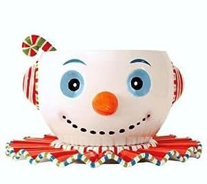 Glitterville Huge Christmas Snowman Punch Bowl, Tray & Ladle, 3-piece Set