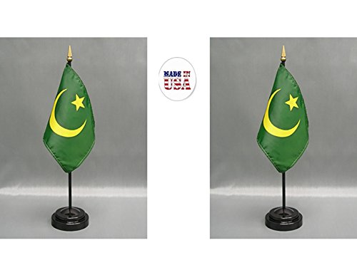 """Made in the USA. 2 Mauritania 4""""x6"""" Miniature Desk & Table Flags Includes 2 Flag Stands & 2 Mauritanian Small Mini Stick Flags"""