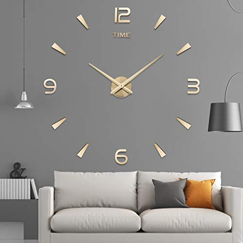 Aililife 3D DIY Wall Clock Decor Sticker Mirror Frameless Large DIY Wall Clock Kit for Home Living Room Bedroom Office Decoration by Aililife