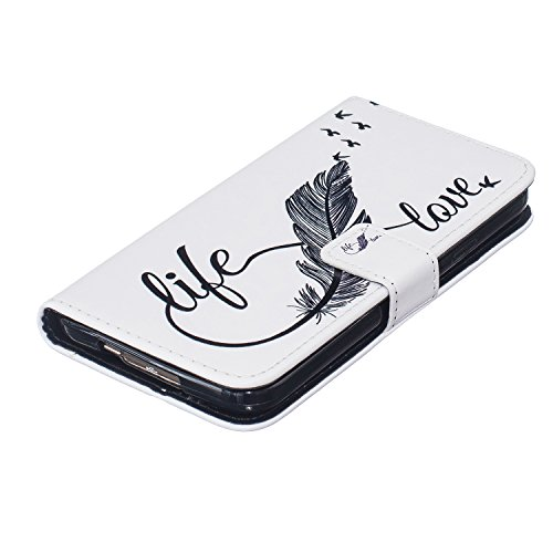 Ukayfe Flip funda de cuero PU para Samsung Galaxy S5, Leather Wallet Case Cover Skin Shell Carcasa Funda para Samsung Galaxy S5 con Pintado Patrón Diseño, Cubierta de la caja Funda protectora de cuero 8 caratteri piuma