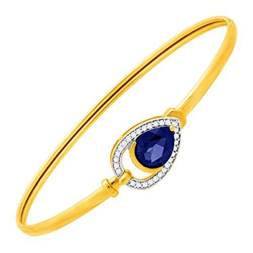 - 2 1/10 ct Ceylon Sapphire & 1/8 ct Diamond Teardrop Bangle Bracelet in 10K Gold