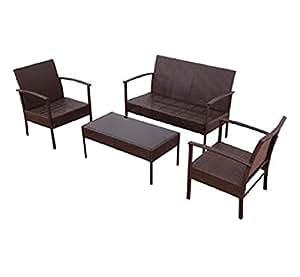 USA Premium Store 4 PCS Patio Rattan Wicker Furniture Set Loveseat Sofa Cushioned Garden Yard