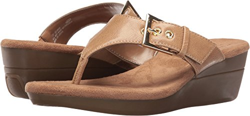 - Aerosoles Women's Flower Wedge Sandal, Light Tan, 8 M US