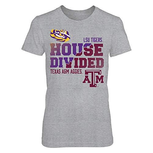FanPrint LSU Tigers T-Shirt - LSU Vs Texas A&M : House Divided - Women's Tee/Grey/L