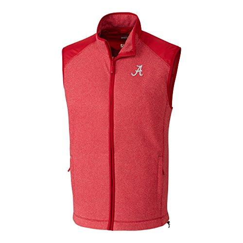Cutter & Buck NCAA Alabama Crimson Tide Adult Men Cedar Park Full Zip Vest, 3X-Large, Cardinal Red Heather