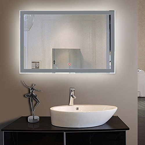 Horizontal LED Bathroom Silvered Mirror with Touch Button,60 x 28 In (E-CK010-C)