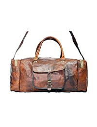 Real Goat Leather Square Duffle Travel Bag Unisex Bag Gym bag Sports Bag Weekender bag