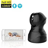 Wireless IP Camera 1080P HD INKERSCOOP Security Camera WiFi Baby Monitor Security Indoor Camera Network Surveillance System with Motion Detection Two-Way Audio WiFi IP Pan Tilt Camera,Black