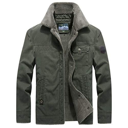 Bomber Lined Men's Green Sherpa Military Jacket LEADER WALK Trucker Shearling Jacket Coat wtBzzq
